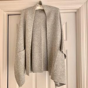 LOFT One Size Grey Marled Pocketed Sweater Poncho